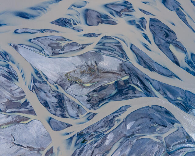 Glacial flood plain from Southeast Iceland Ariel landscape photograph.