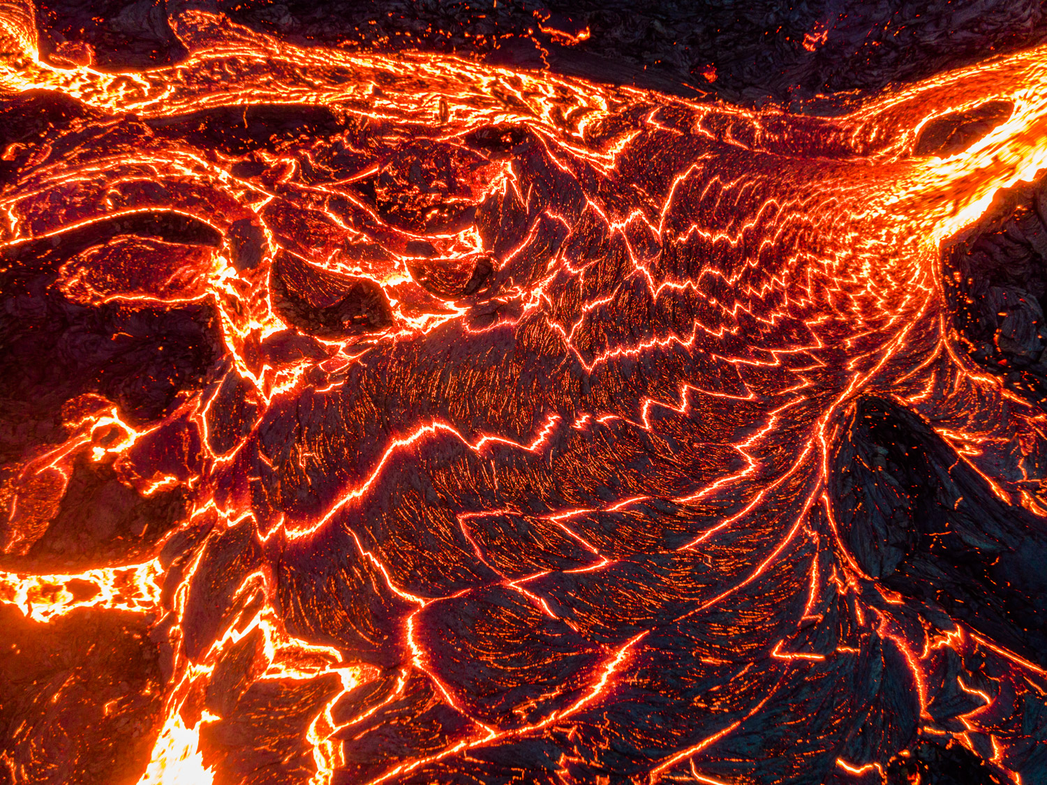 Molten lave from Fagradalsfjall Volcano on the Reykjanes Peninsula in Iceland.