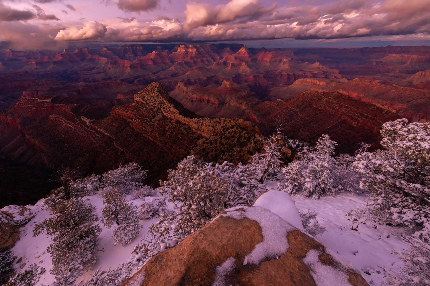 A winter storm over the Grand Canyon from the South Rim, Arizona.