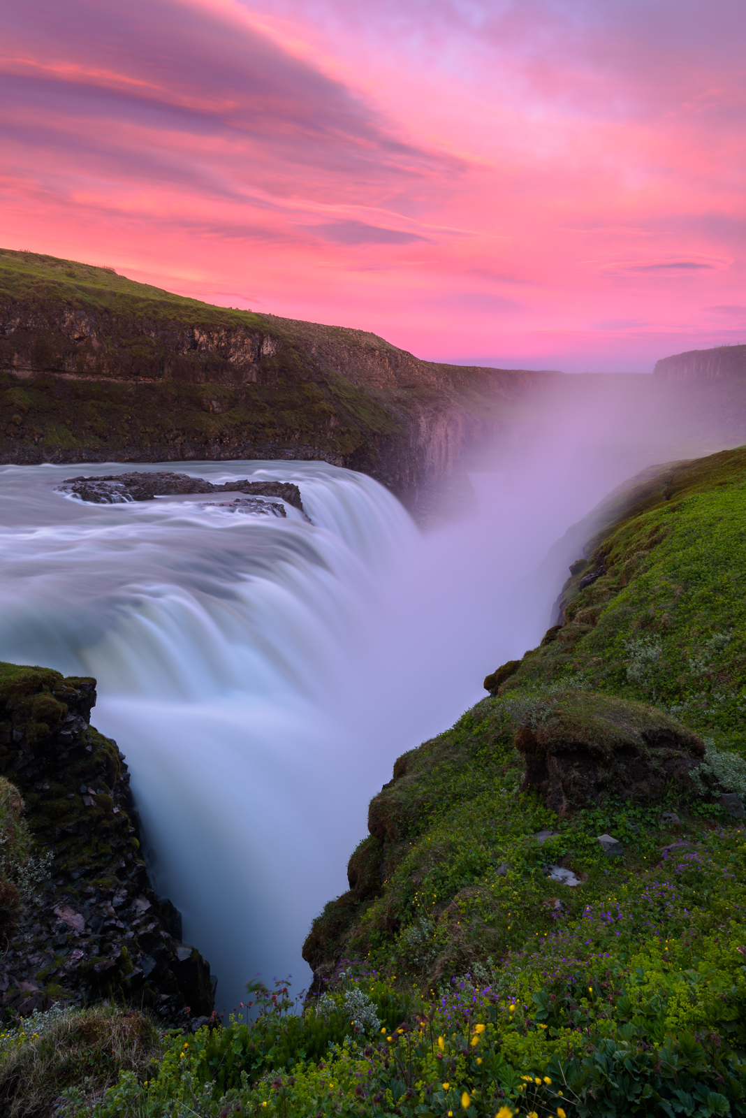 Gullfoss is a waterfall located in the canyon of the Hvítá river in southwest Iceland. This was captured at sunriuse at 3:30am...
