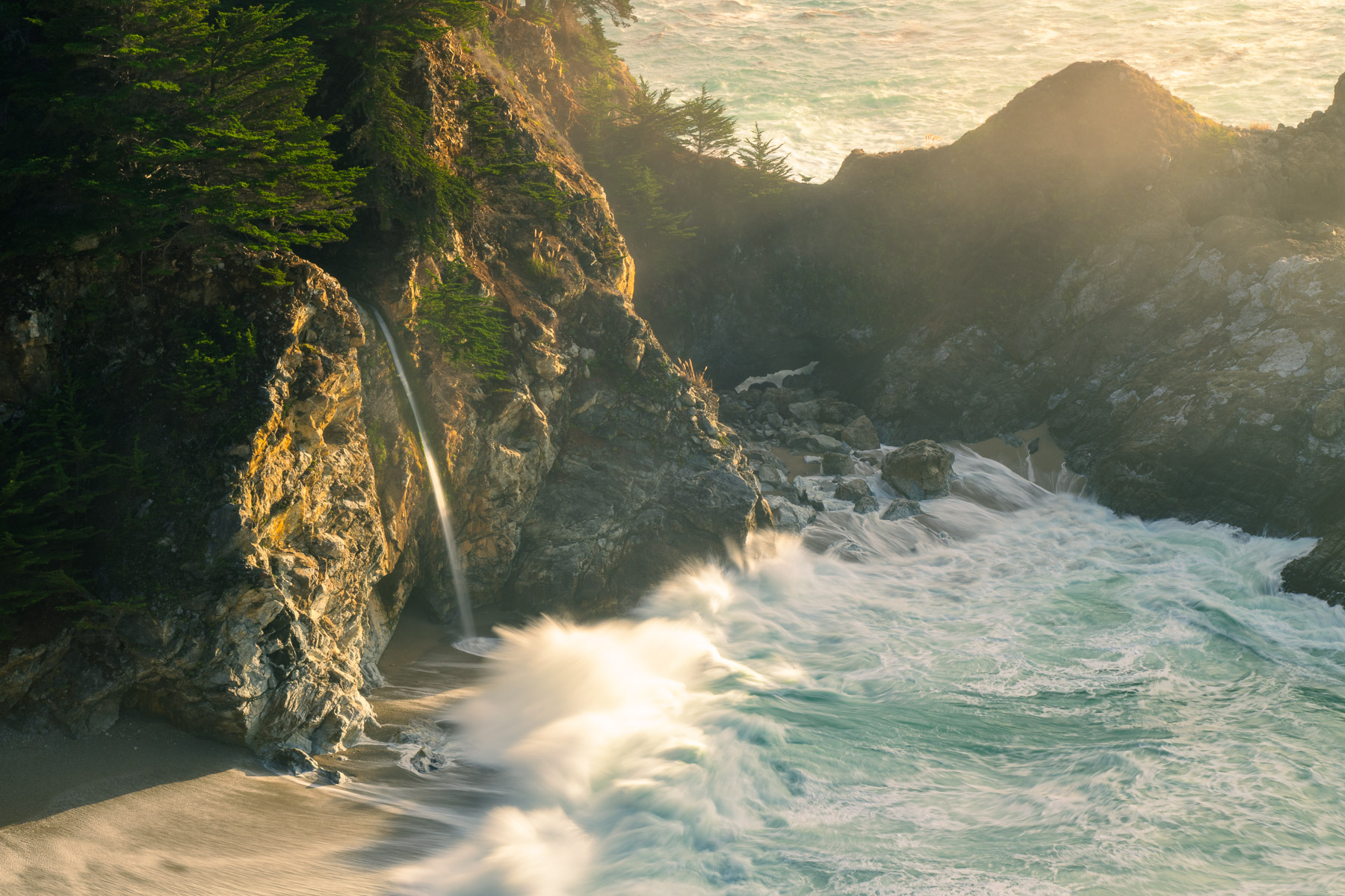 McWay Falls is most likely the most famous waterfall on the coast of California. Captured near susnet ona misty winter afternoon...