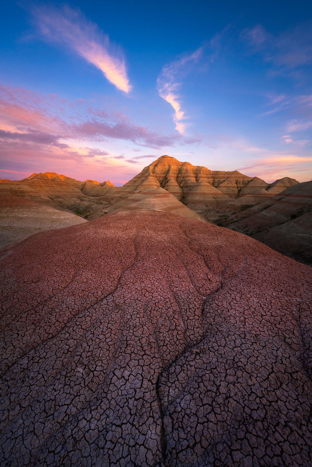 Badland pinnacles at sunset from deep in the backcountry.