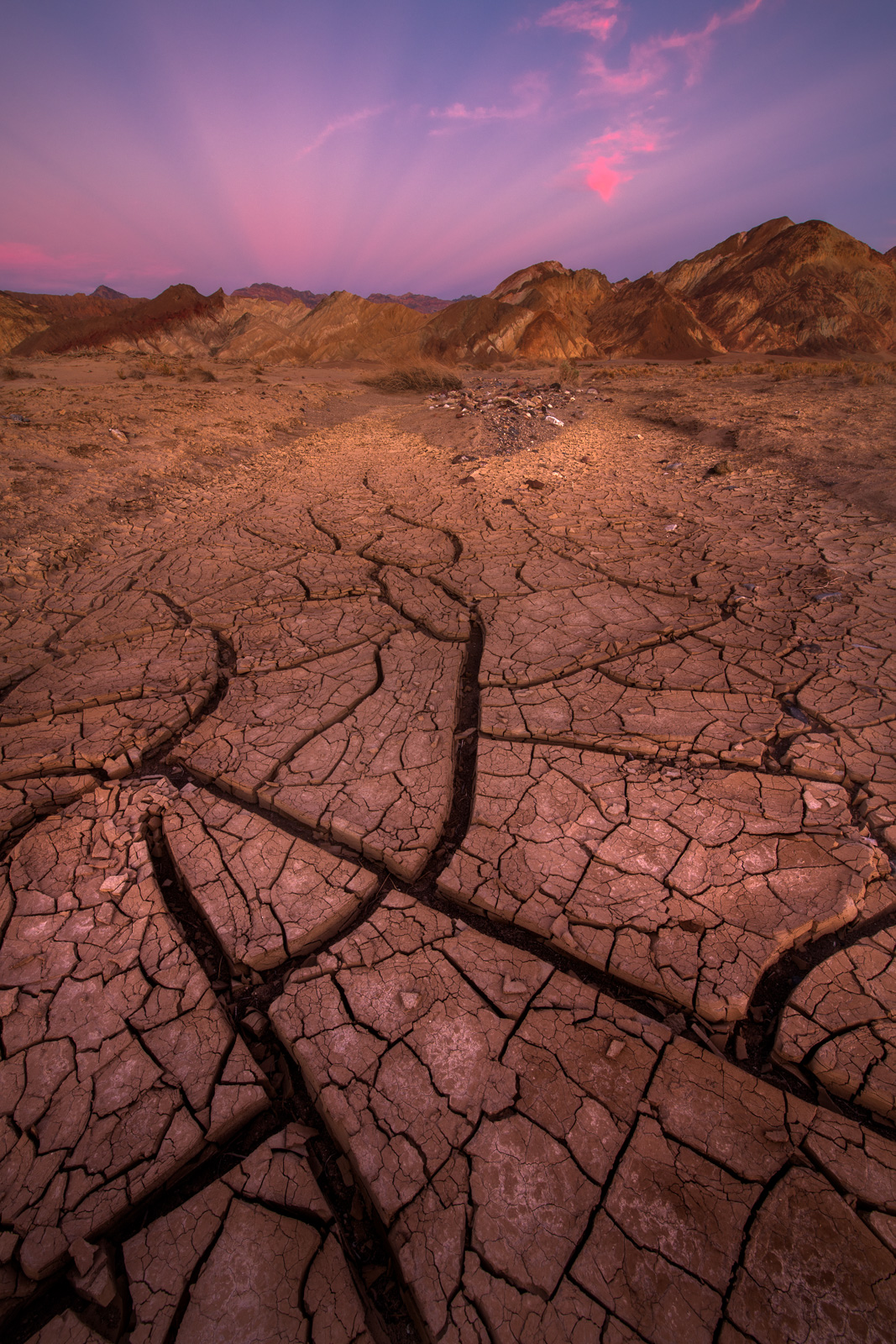 Cracked mud at susnet from mud flats near Furnace Creek.
