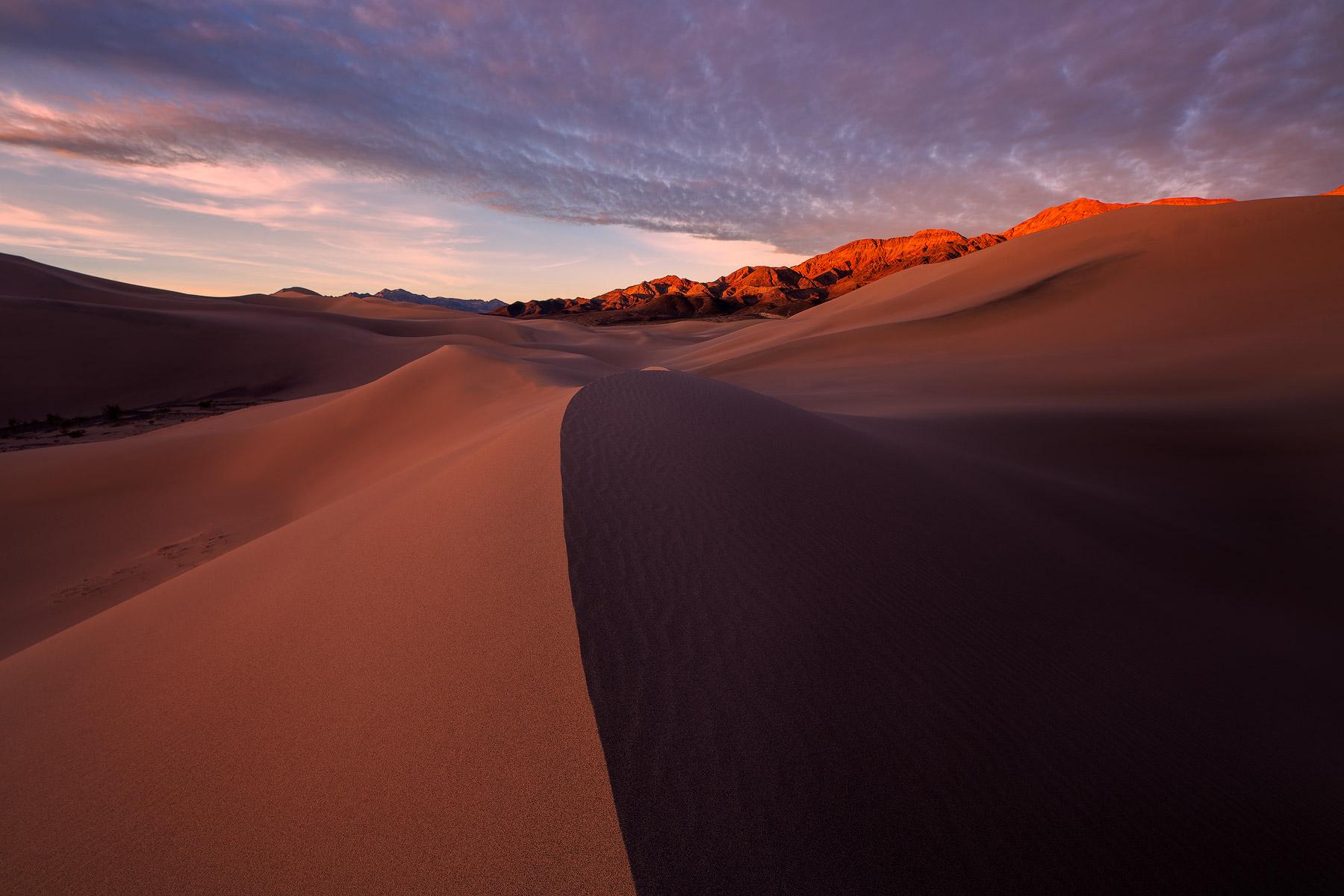 Last light on Ibex Dunes, Death Valley National Park, California.