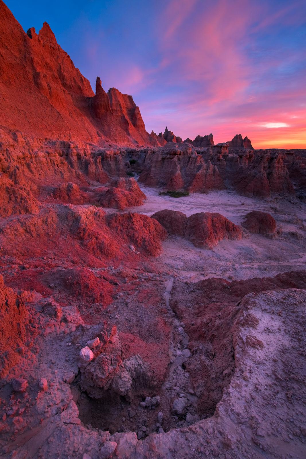 Pinnacles and eroding badlands at sunrise.