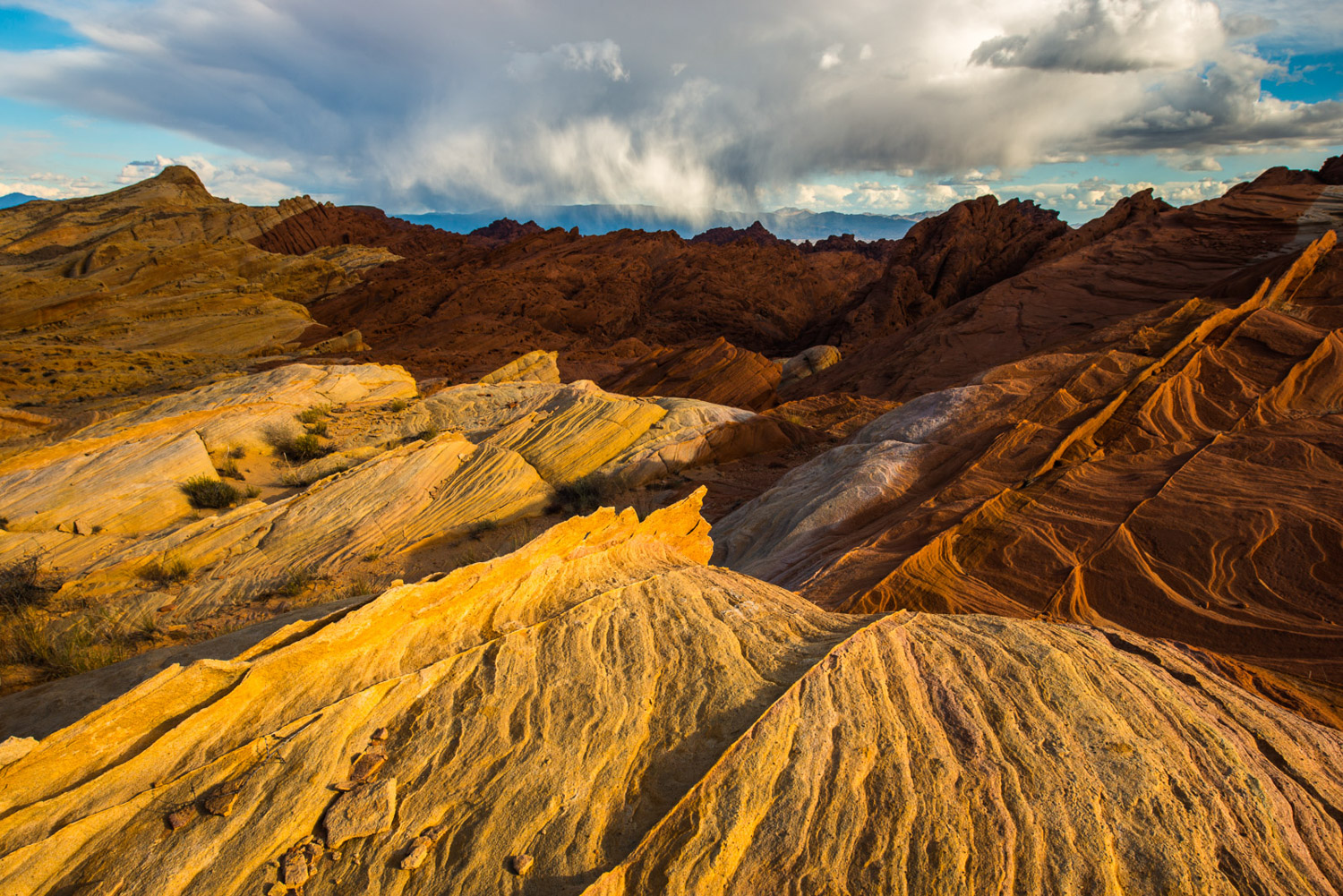Summer monsoon over the Virgin Mountains from above Fire Canyon in Valley of Fire.