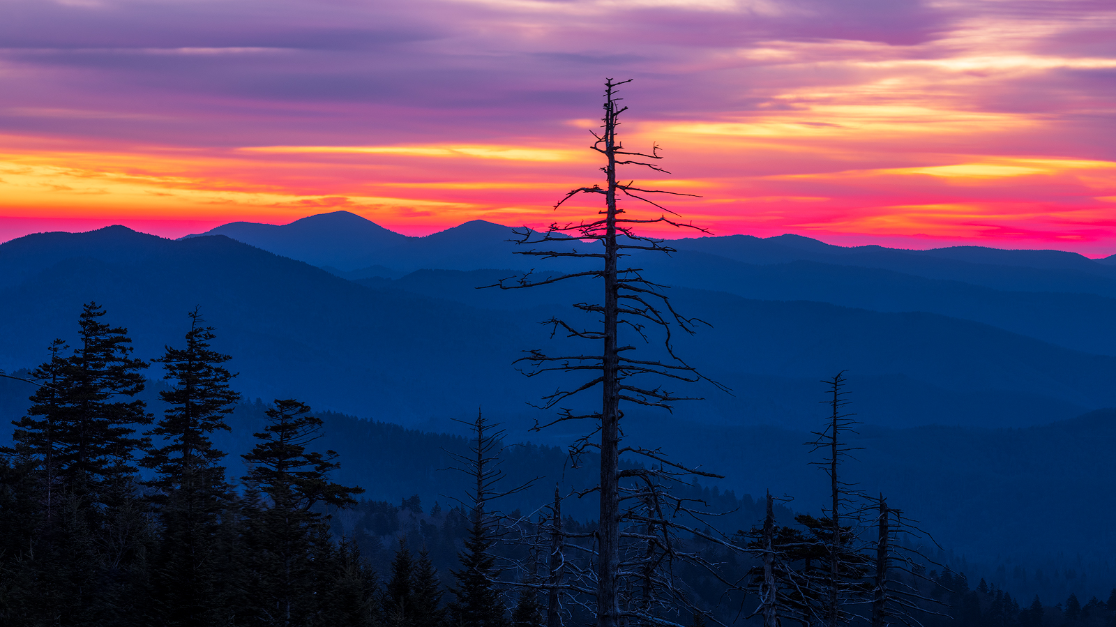 Sunrise looking east from Clingmans Dome.