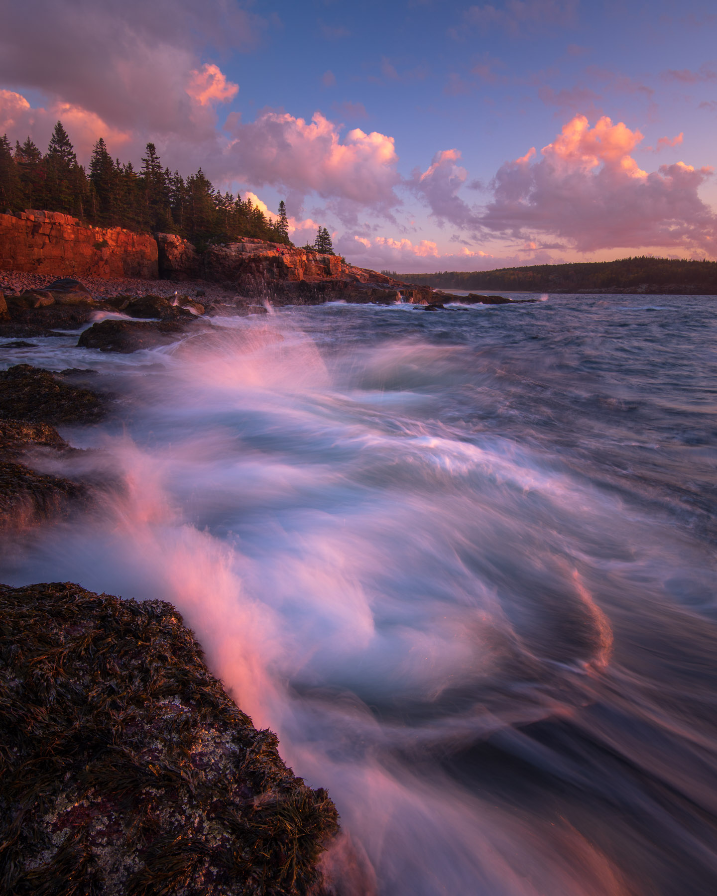 Breaking waves along the granite coast of Acadia National Park, Maine.