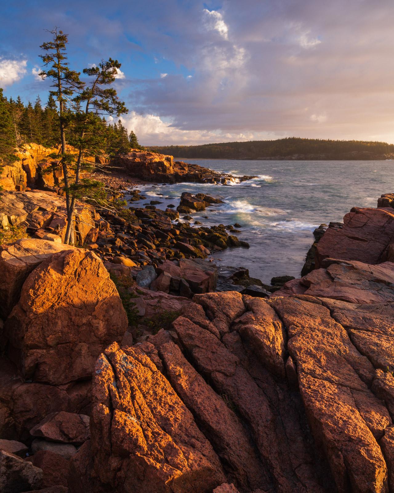 Sunrise along the granite coast of Acadia National Park.