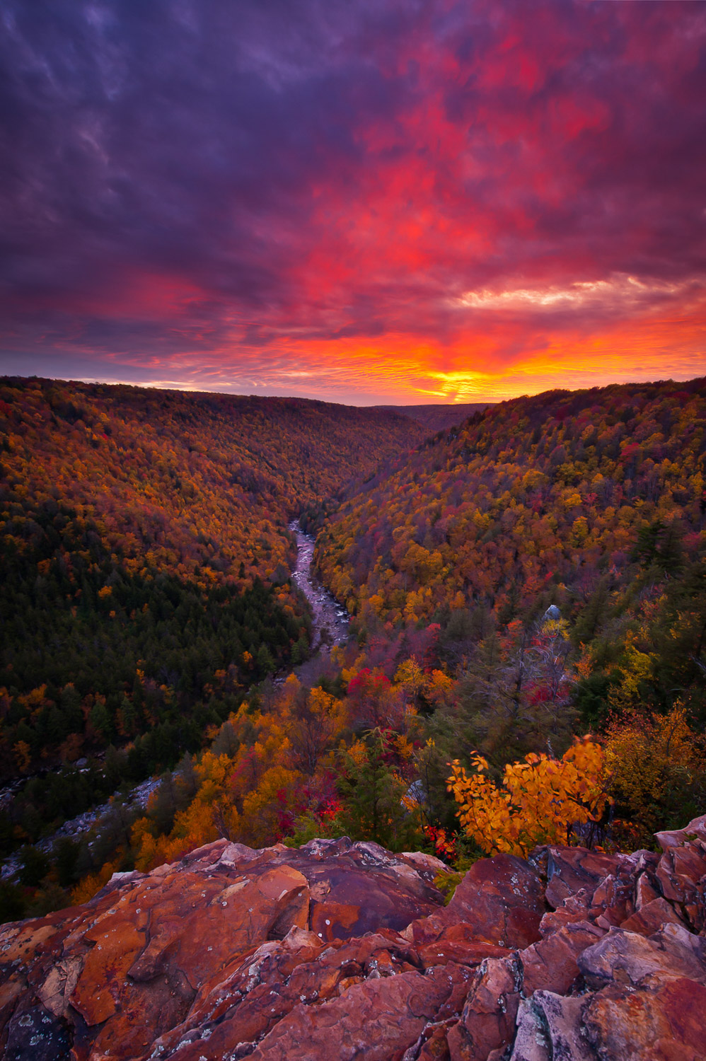 A fiery October sunset captured over Blackwater Canyon in the Allegheny Mountains of West Virginia.
