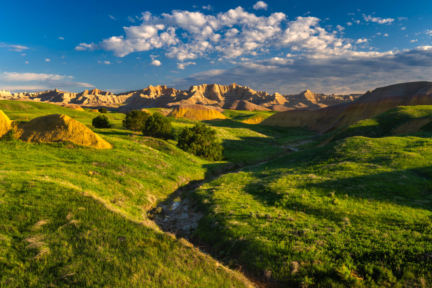 The lush and green grasslands of the Badlands prairie captured in late May in Badlands National Park, South Dakota.