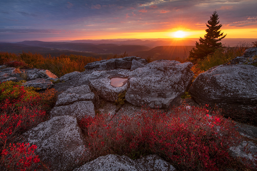 Sunrise over the Allegheny Mountains from Bear Rocks Preserve, Dolly Sods Wilderness.