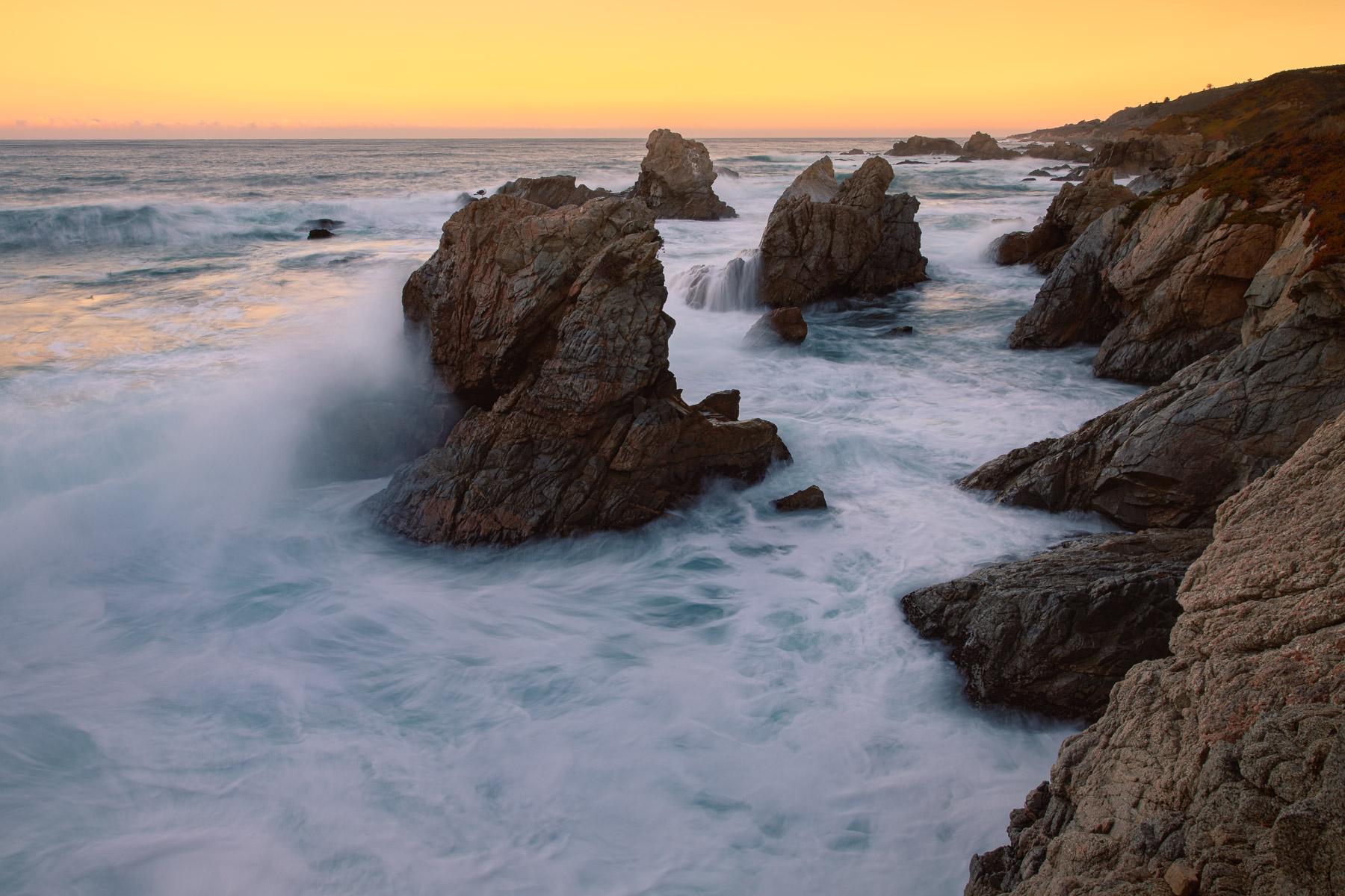 Serastacks and breaking waves along California's rugged Big Sur Coastline. Limited Edition: 100 - Artist Proof: 5