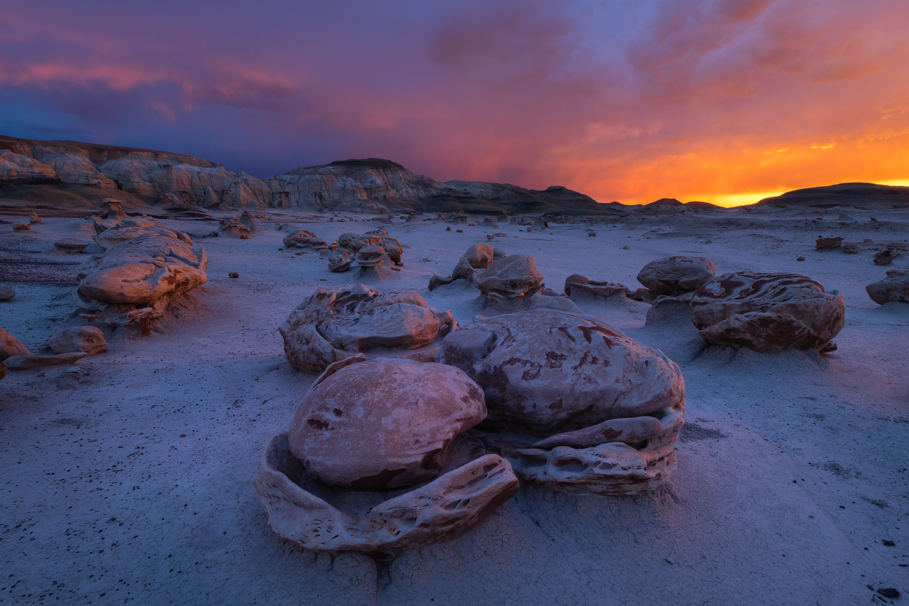 Bizarre landscape captured in the backcountry of the Bisti Badlands, New Mexico.