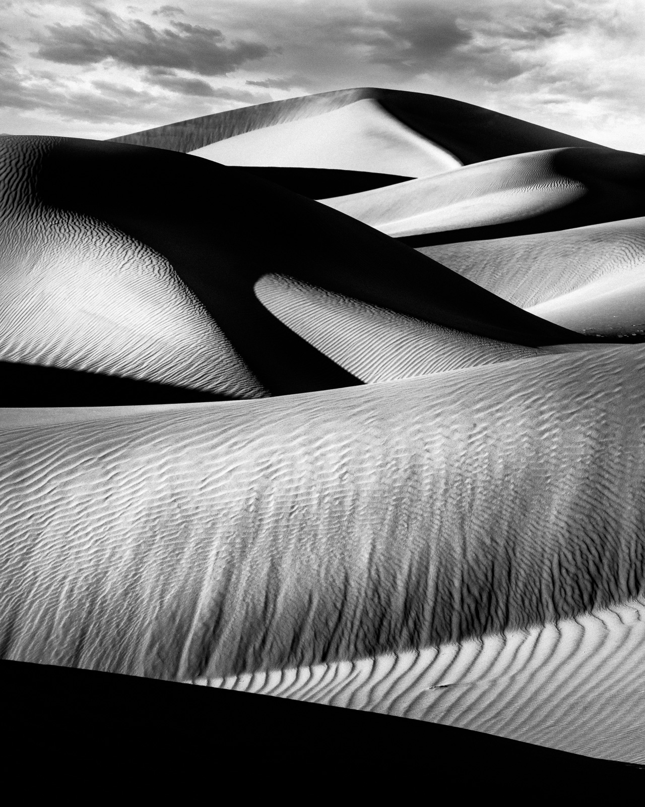 Mesquite Sand Dunes play of light in Death Valley, California.