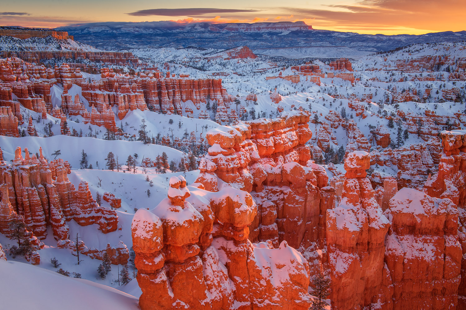 Winter sunrise over the Hoodoos of Bryce Canyon from Sunet Point.
