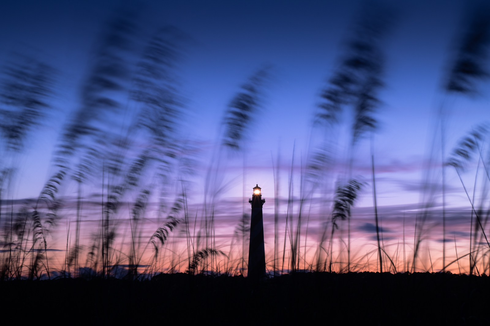 Cape Hatteras Lighthouse at twilight.