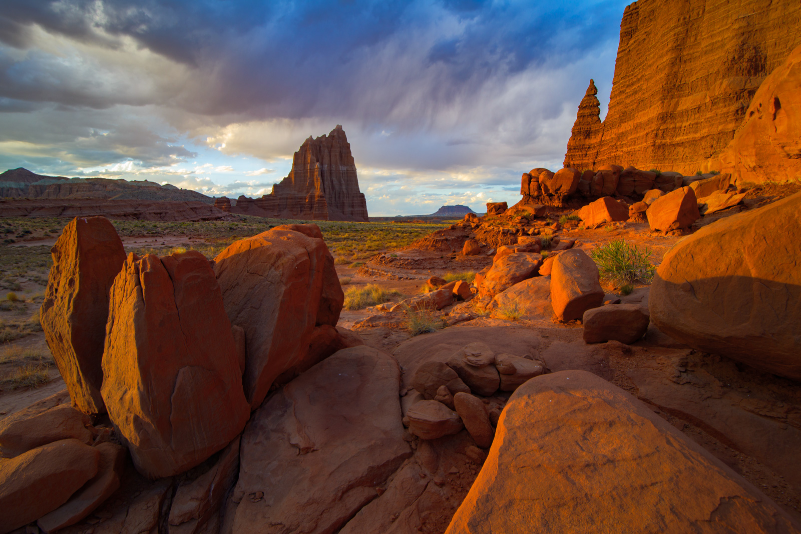 Sunset in Upper Cathedral Valley, Capitol Reef National Park.