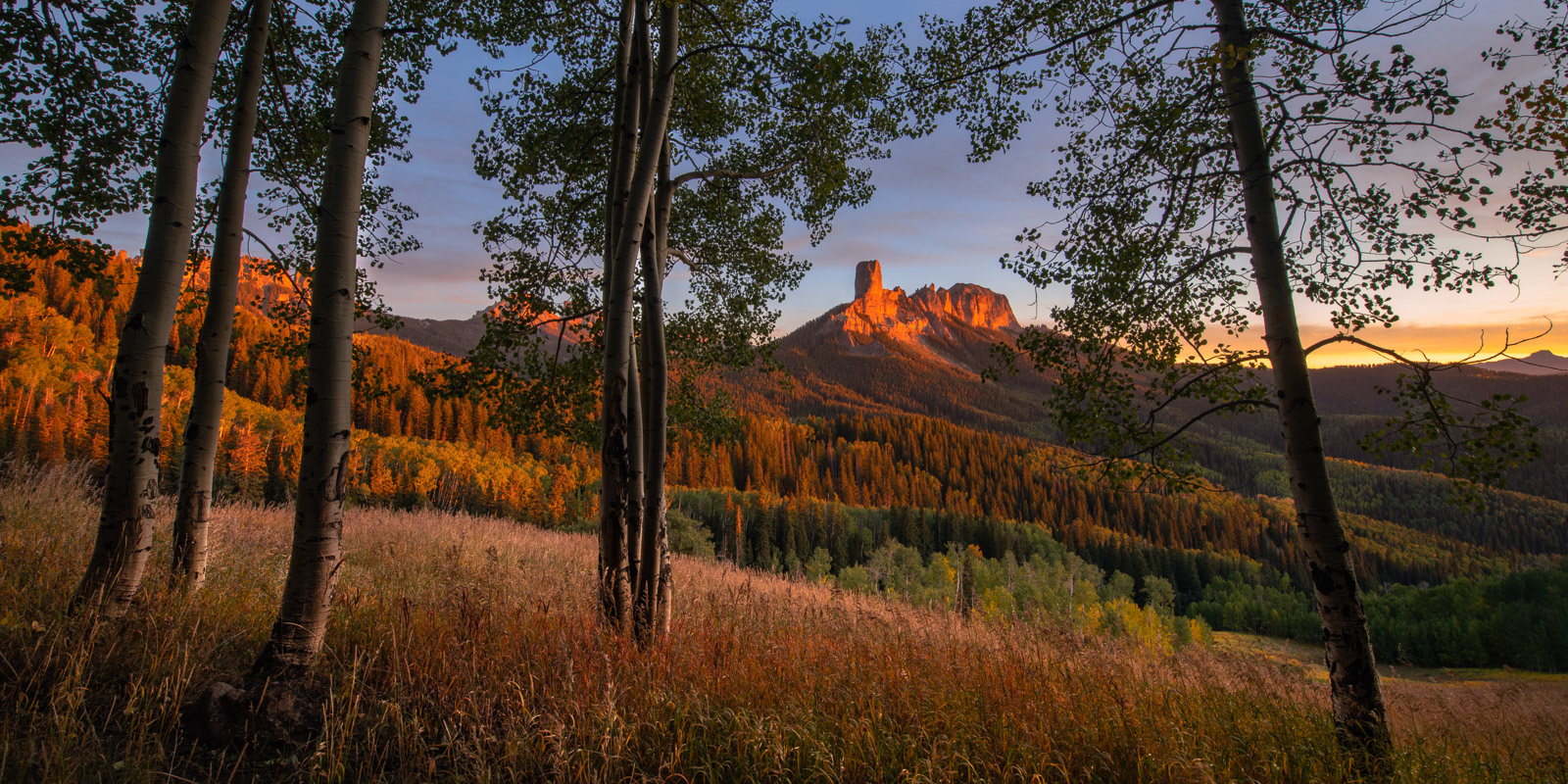 Chimney Rock captured from uniquely high vantage point ion the San Juan Mountains of Colorado.