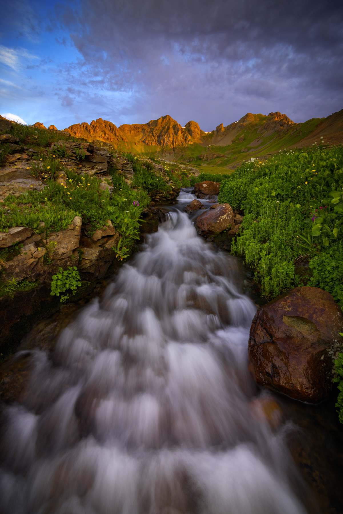 A small alpine stream drains Clear Lake Basin captured at sunset on a summer evening in the San Juan Mountains. Available Print...