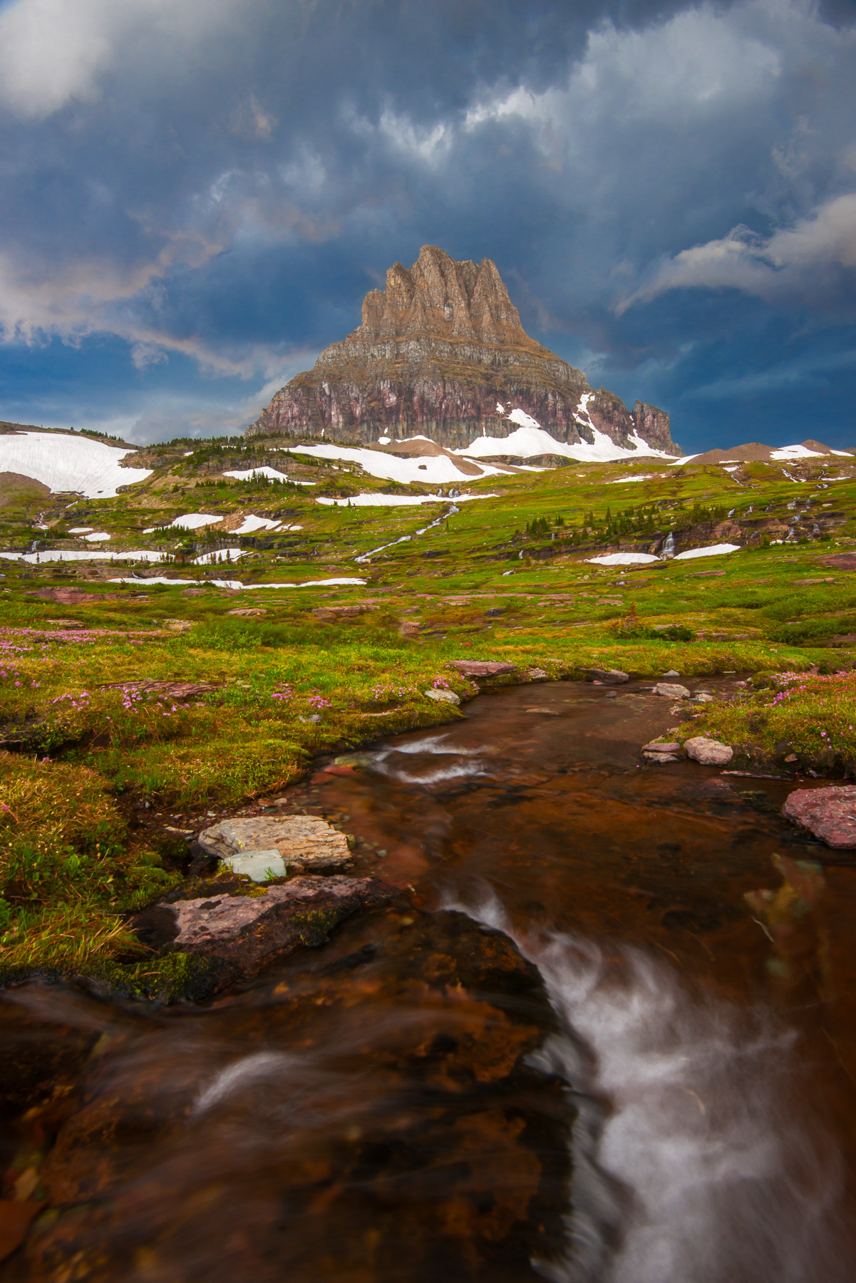 Thunderstorms enveloping Clements Mountain in the high country of Glacier National Park, Montana.