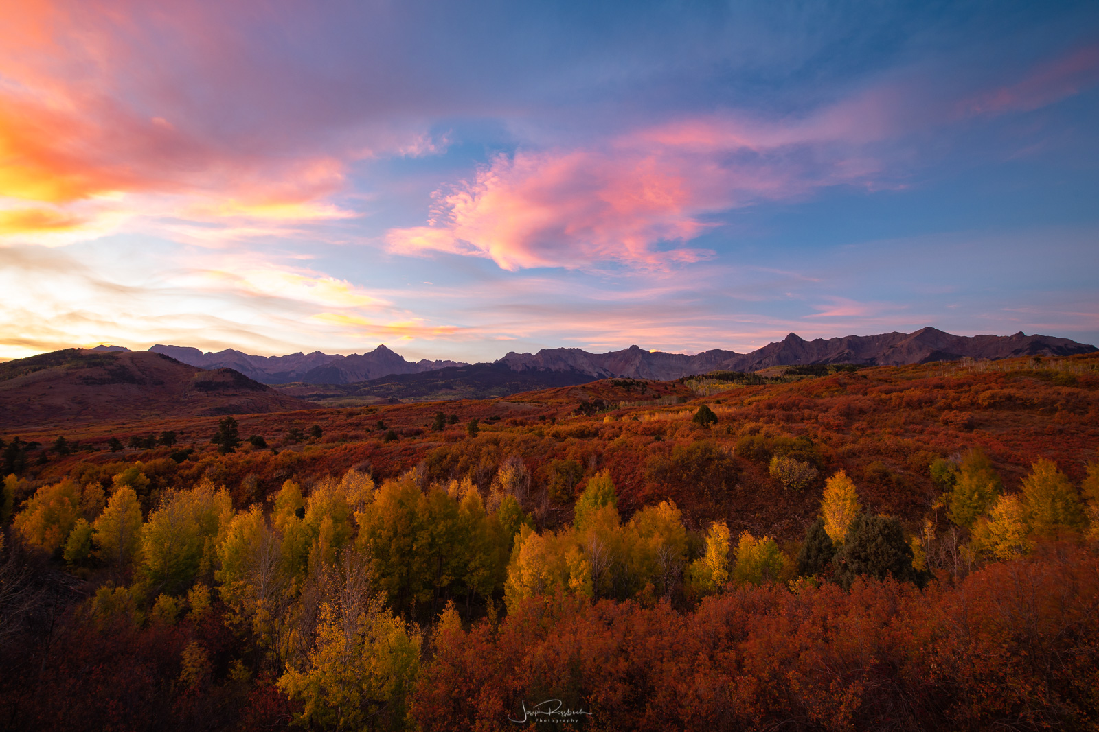 The Sneffels Range at sunrise from Dallas Divide.