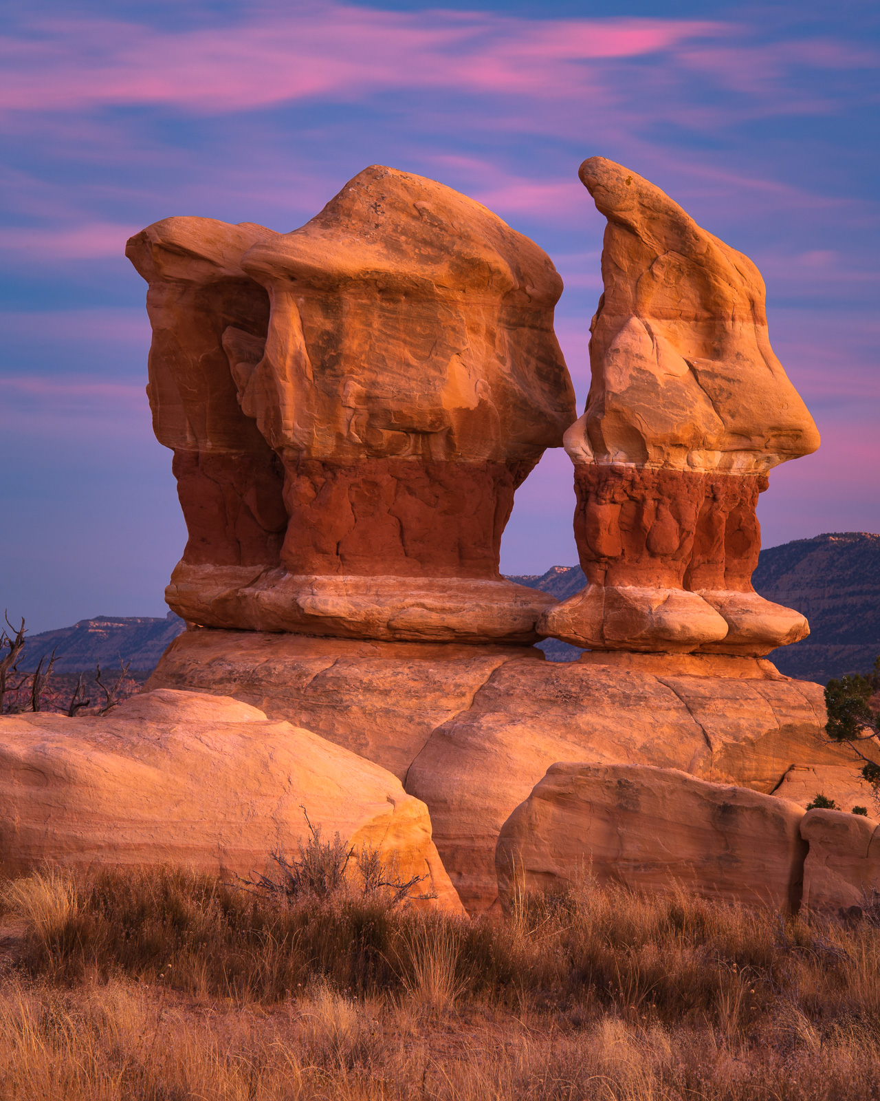 Sandstone formations at sunset in the Devils Garden of the Grand Staircase/Escalante National Monument, Utah.