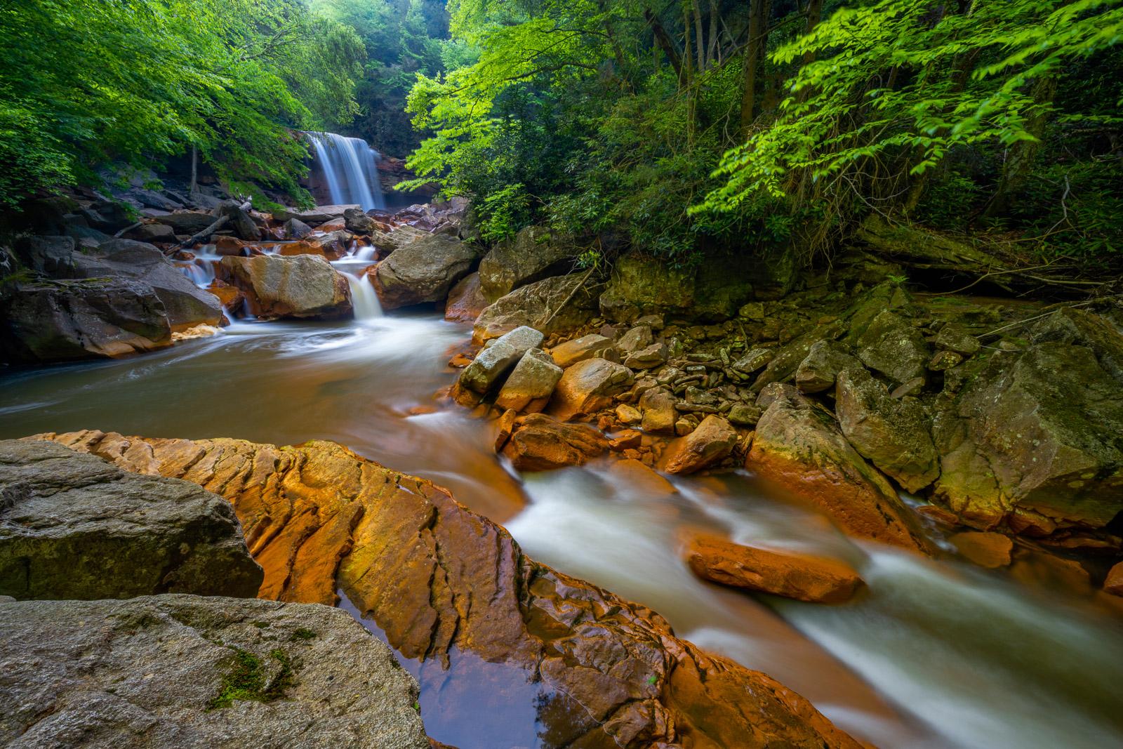 Springtime at Douglas Falls near Thomas, West Virginia. Douglas Falls is a beautiful waterfall on the Northfork Blackwater River...