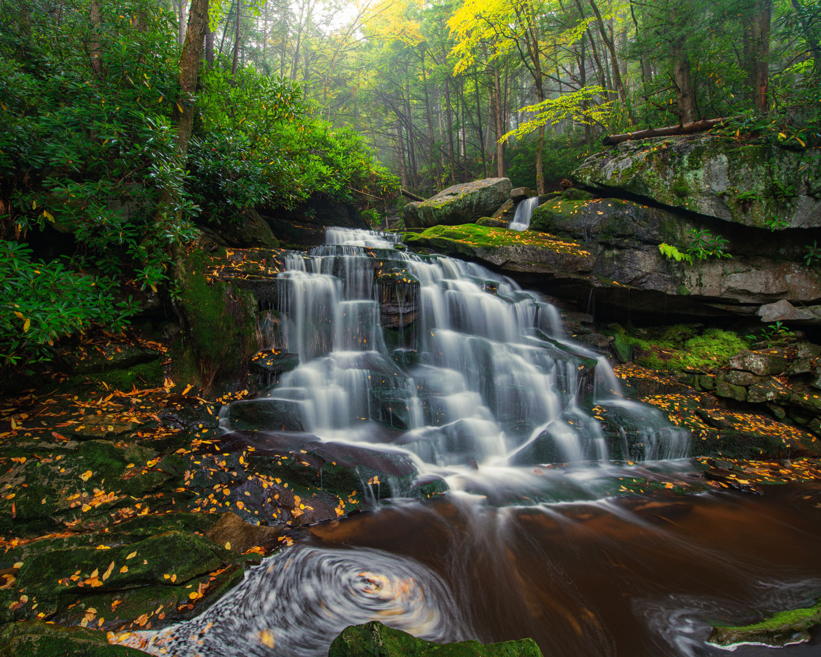 Second Falls of Shays Run, Elekala Falls, on a wet and mistly October day in Blackwater Falls State Park, West Virginia.