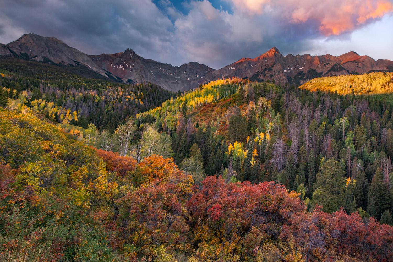 Mount Sneffels and the San Nuan Mountains during a dramatic autumn sunrise, San Juan Mountains, Colorado