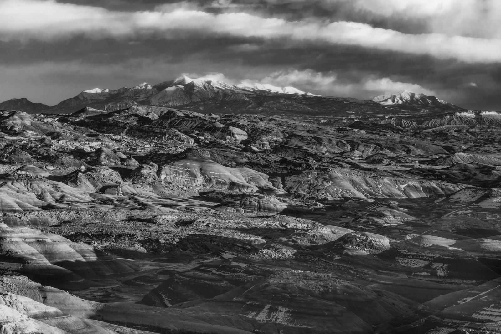 The Henry Mountains from a remote loation in Capitol Reef National Park.