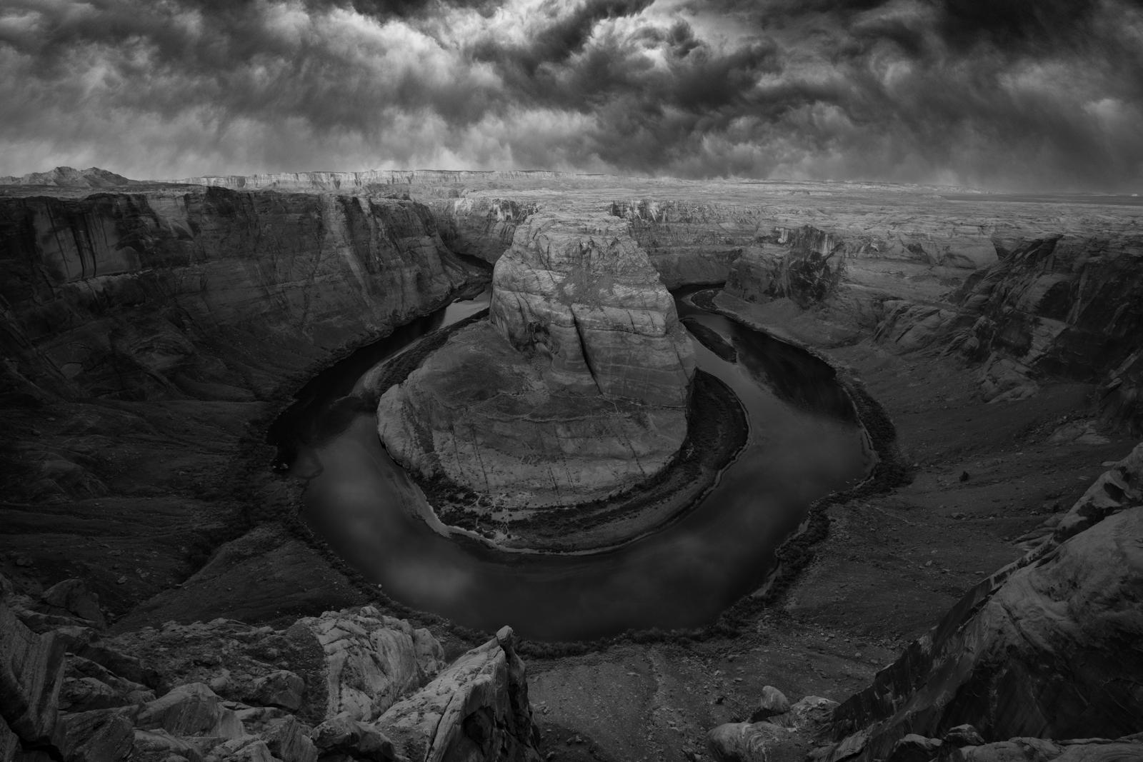 Summer storm brewing over Horseshoe Bend, Arizona.