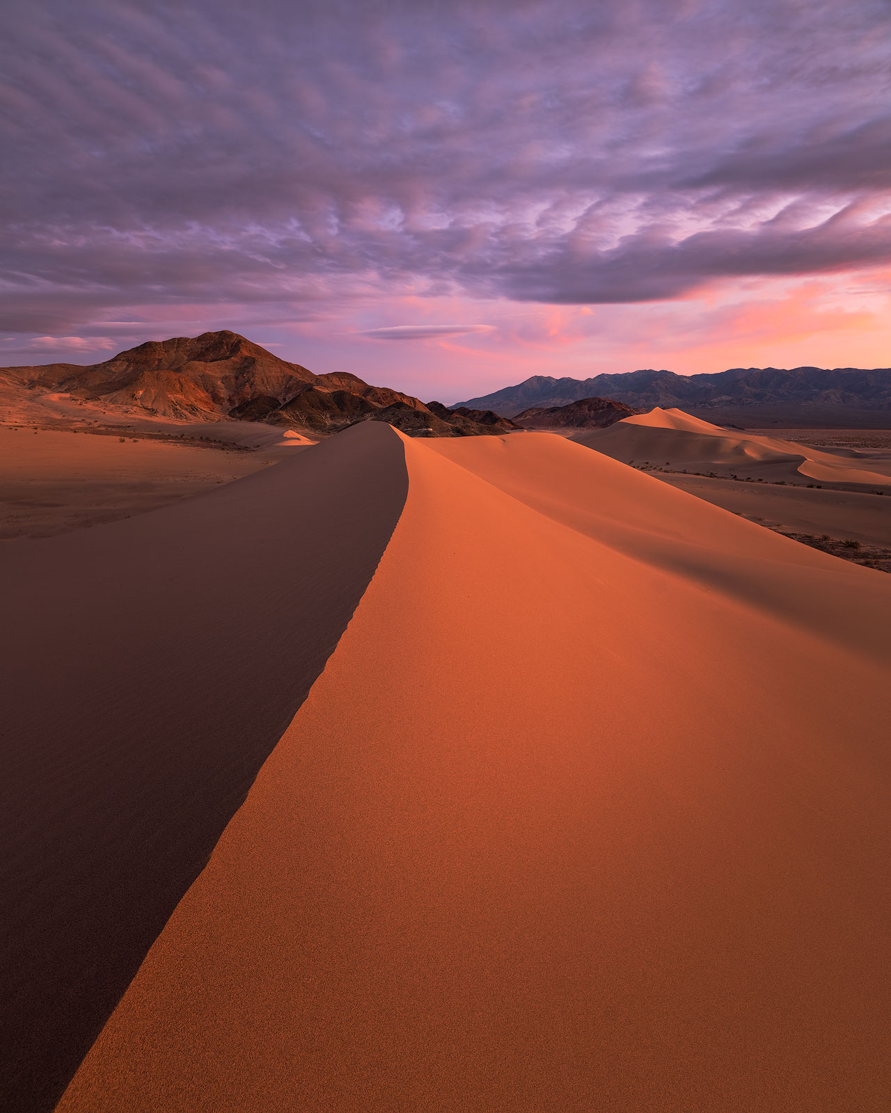 A spectacular winter sunset from the Ibex Dunes in Death Valley, California.