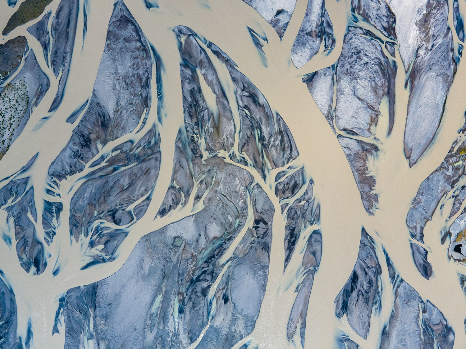 Ariel image of glacial river delta in southeast Iceland.