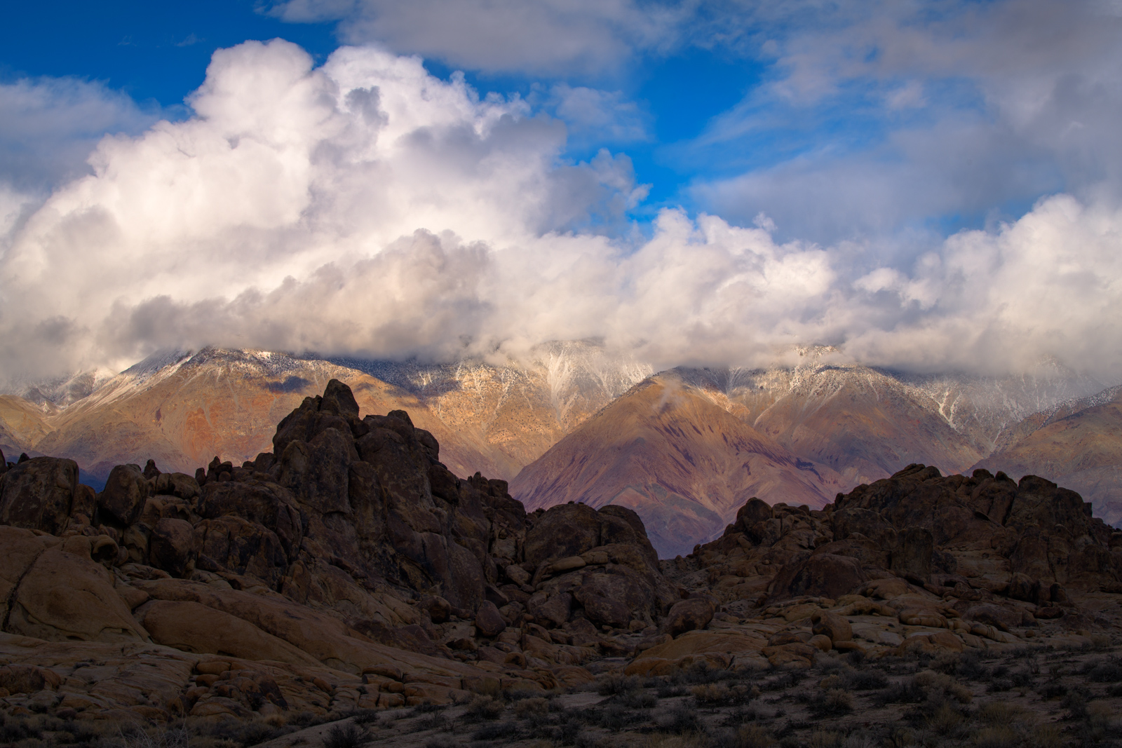 The Inyo Mountains with fresh snow from the Alabama Hills, California.