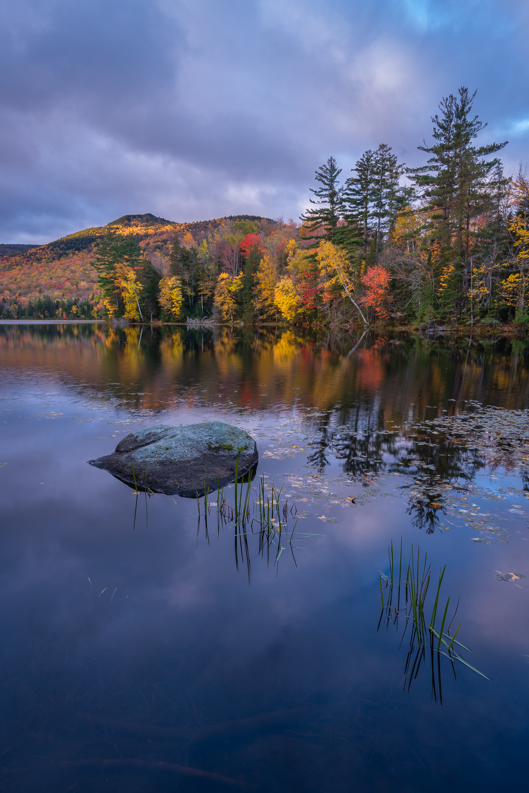 Sunrise and perfectly still reflections on Lefferts Pond, Green Mountain National Forest, Vermont.