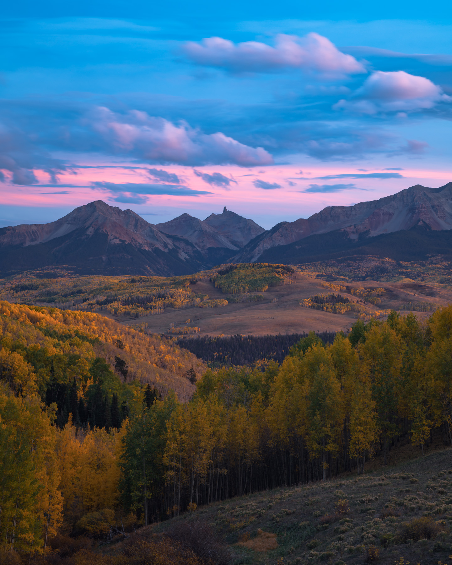 Lizard Head Peak and autumn colors from West Wilson Mesa, Uncompagre National Forest, Colorado.Add beauty to your space with...