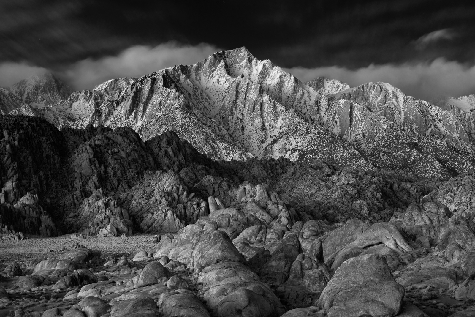 Lone Pine Peak and the Alabama Hills st sunrise, Owens Valley, California.