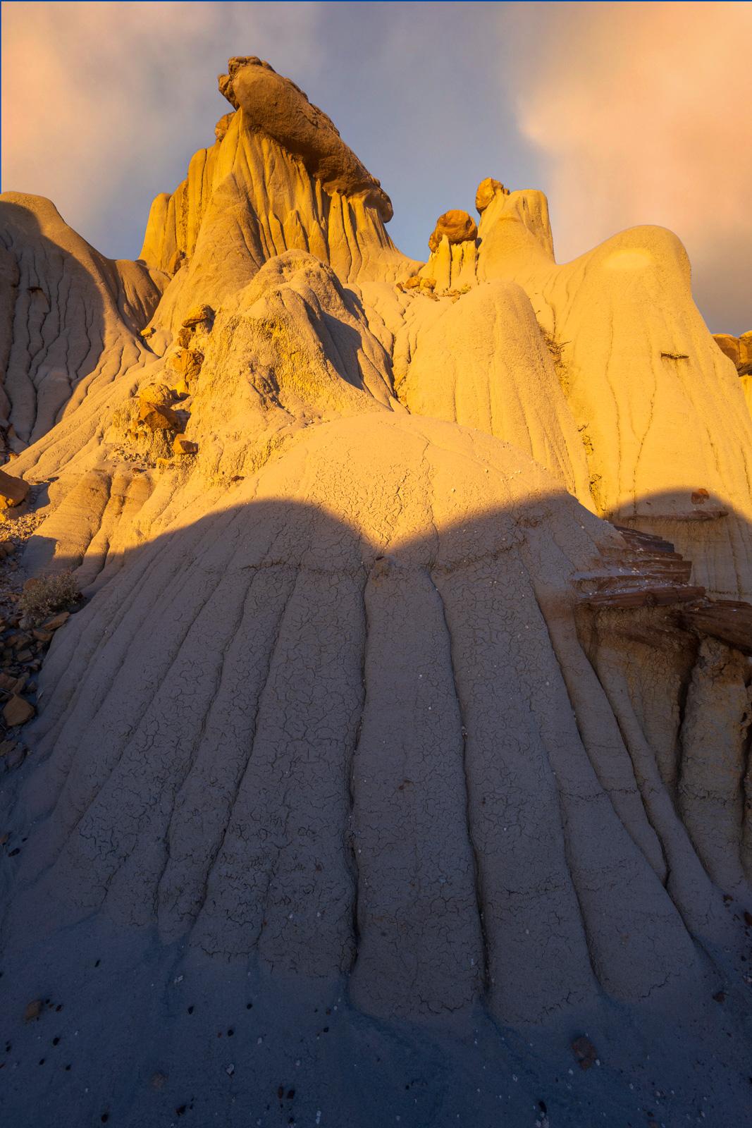 Eroding badlands at sunset in Makoshika State Park, Wyoming.