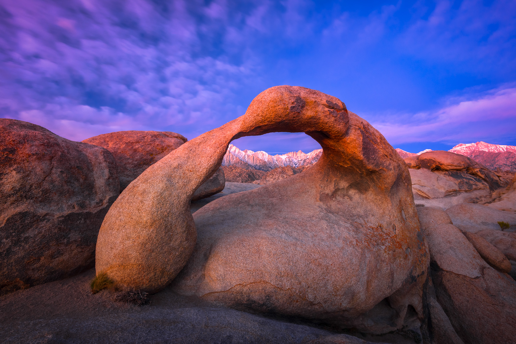Mobius Arch frames Mount Whitney at sunrise from the Alabama Hills, California. Available Print Sizes: 12x18,16x24,20x30,24x36...