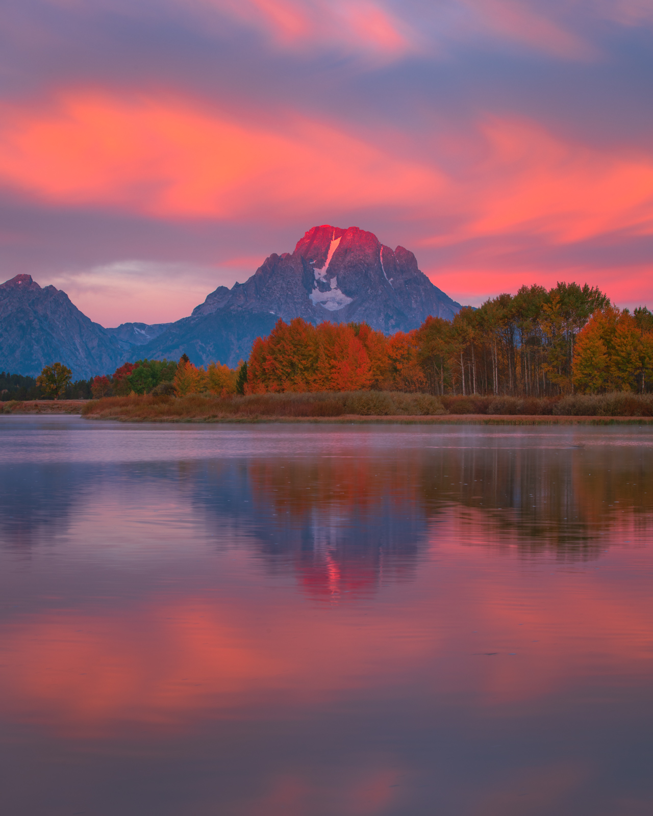 Mount Moran at first light reflected in Ox Bow Bend. Available Print Sizes: 12x15, 16x20,24x30,23x40,40x50Limited Edition: 100...
