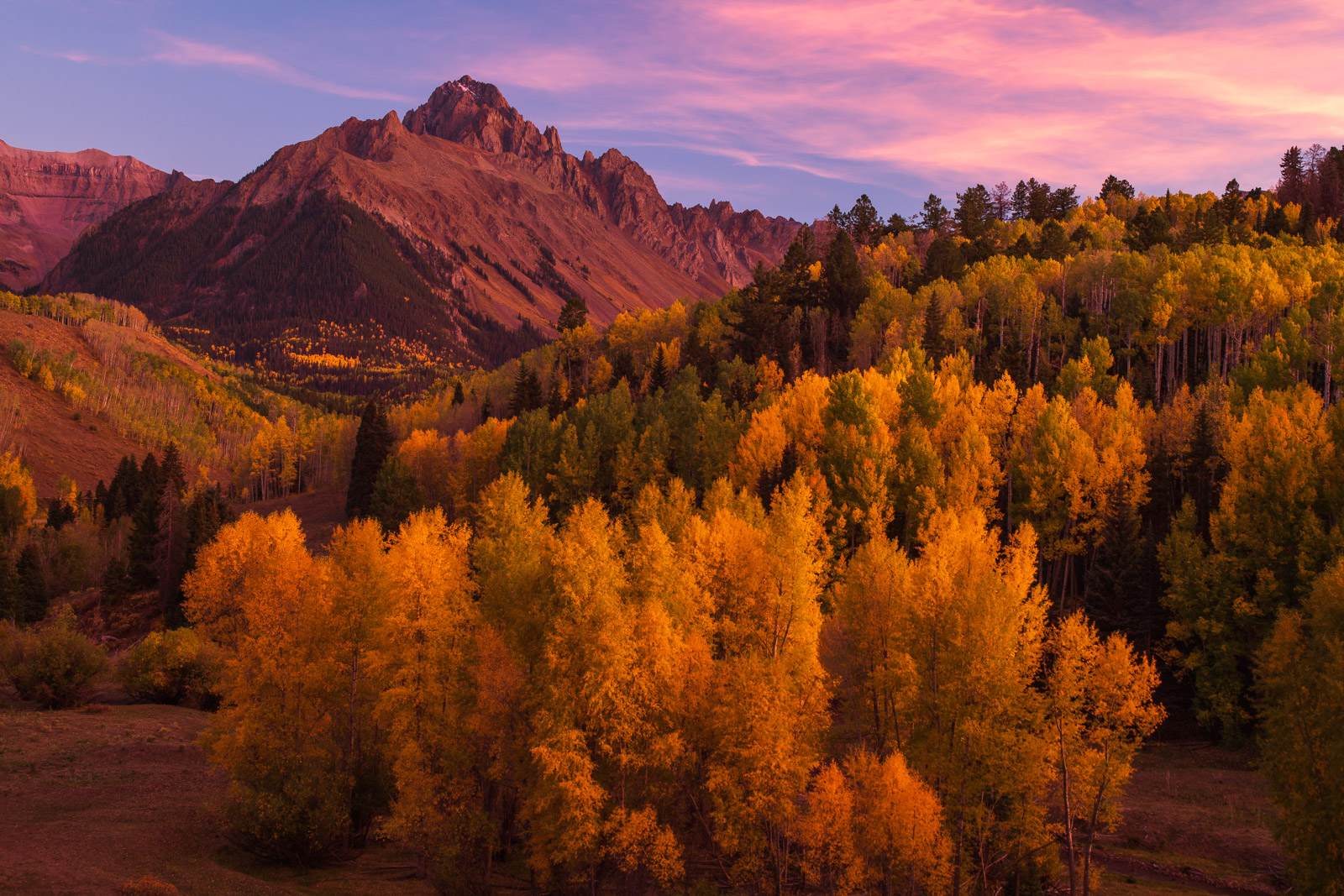 Mount Sneffels at sunset, San Juan Mountains, Colorado.