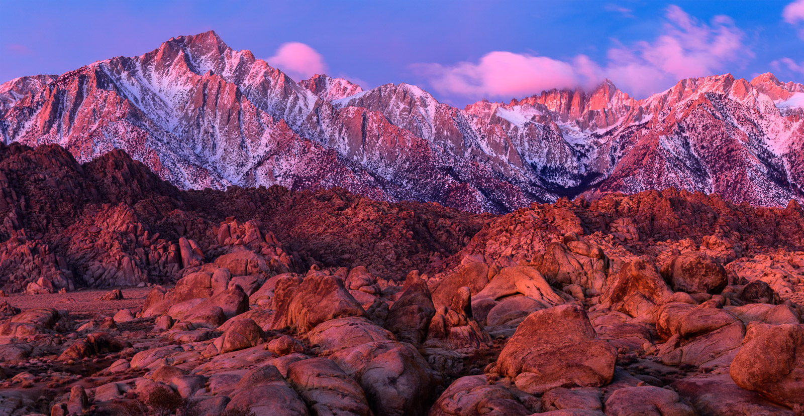 Limited Edition of 50 As viewed from the Alabama Hills, Mount Whitney and the jagged peaks of the Eastern Sierra rise above the...
