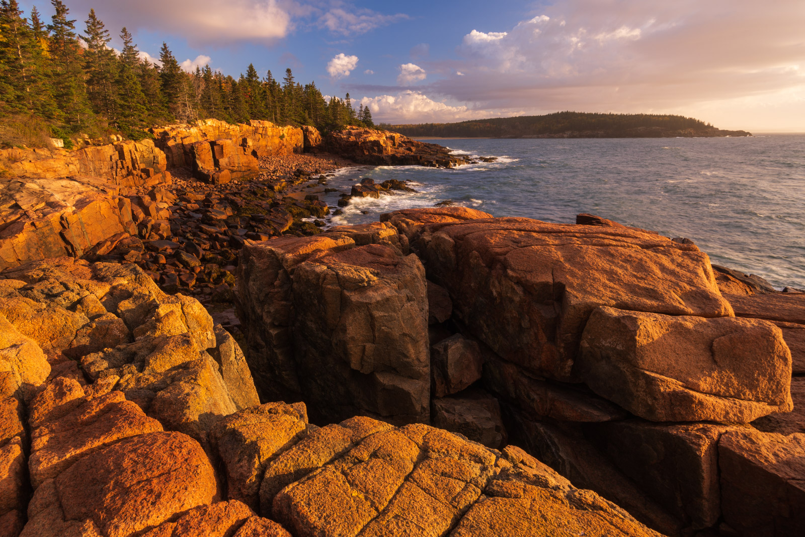 Sunrise along Acadia Nationa Parks rugged granite coastline.