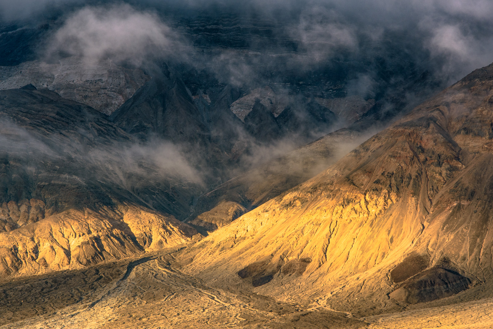 Clearing storm clouds on the Panamint Mountsains from Panamint Valley at sunset.