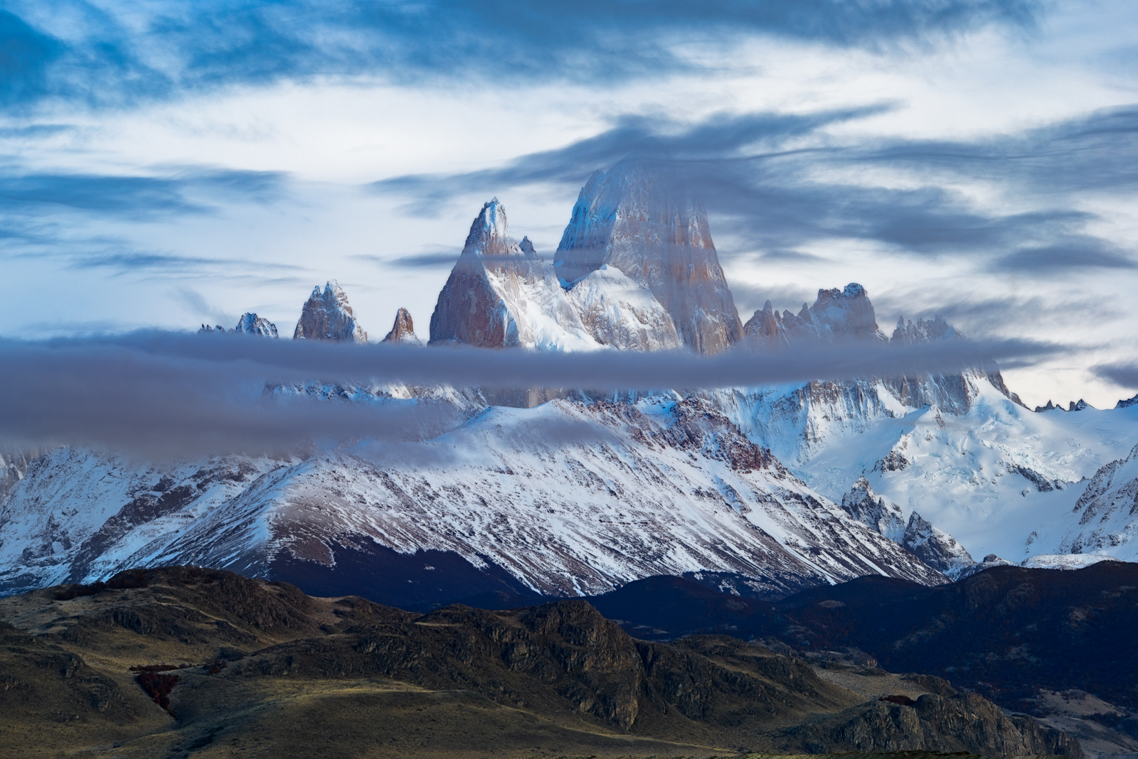 Mount Fitz Roy and clearing storm clouds, Patagonia, Argentina.
