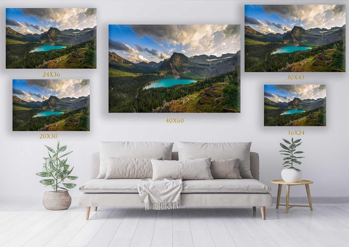 Print Size Comparison on Wall w Sofa