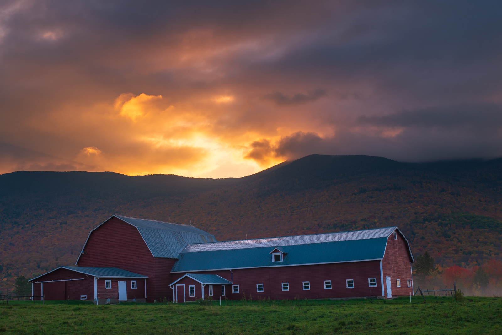 Red barn at sunrise in northern Vermont. Available Print Sizes: 12x18, 16x24, 20x30, 24x36, 30x45, 40x60Limited Edition: 100 -...