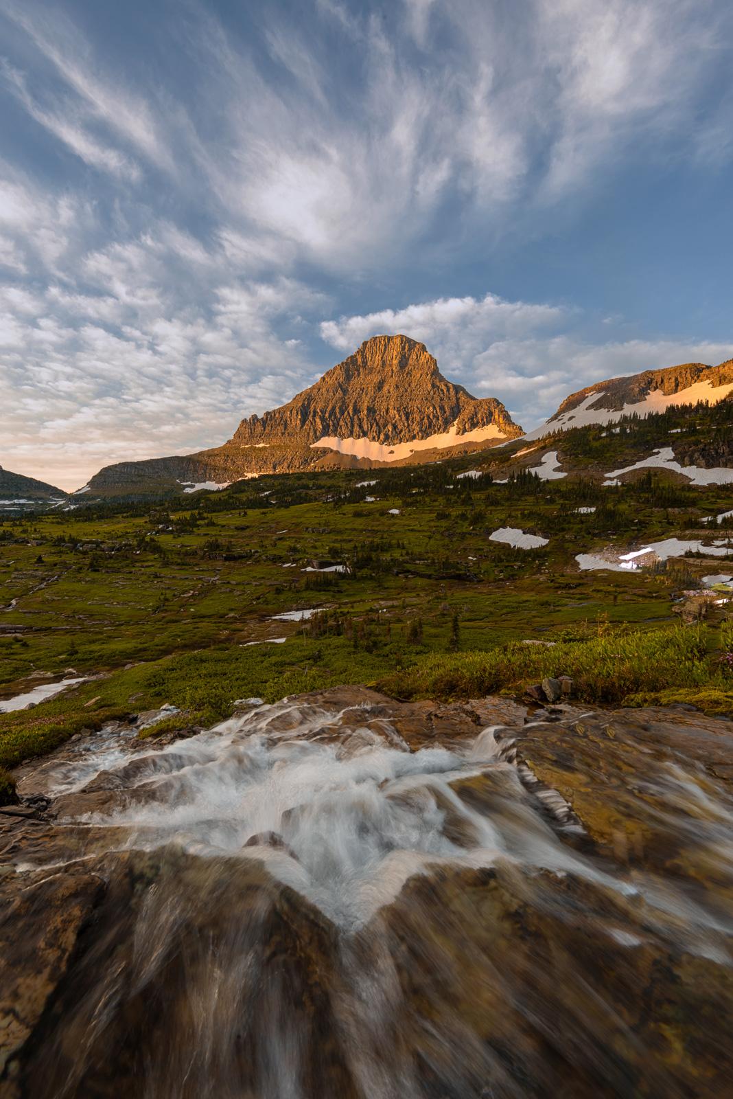 Reynolkds Mountain at sunrise from Logan Pass.