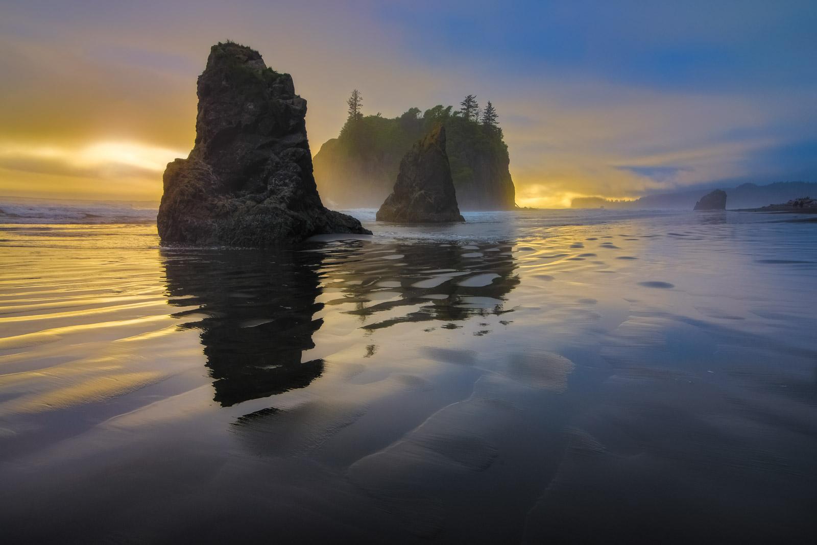Sunset from Ruby Beach, Olympic National Park, Washington.